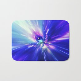 Interstellar, time travel and hyper jump in space. Flying through wormhole tunnel or abstract energy Bath Mat