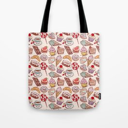 Hand drawn confectionery croissant Cupcake candy ice cream cake donut and coffee Tote Bag