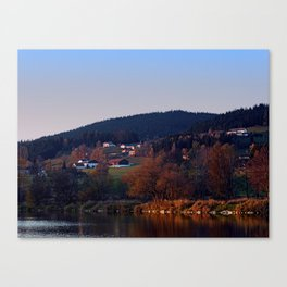 Indian summer sunset at the fishing lake III | waterscape photography Canvas Print