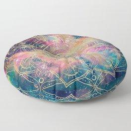 Stylish Gold mandala watercolor & Nebula Colorful Design Floor Pillow