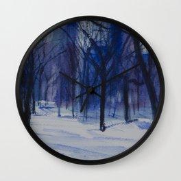 Central Park Blue Snow Wall Clock