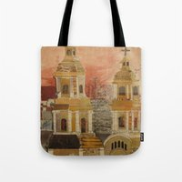 chile Tote Bags featuring Church in Chile by Karen Chapman