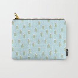Merry christmas- With snow covered x-mas trees pattern on aqua background Carry-All Pouch
