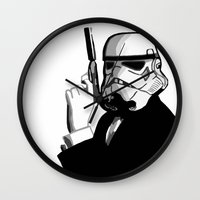 bond Wall Clocks featuring Stormtrooper Bond by FOREVER NERD