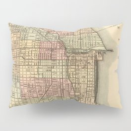 Vintage Map Of Chicago Pillow Sham