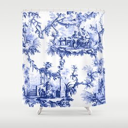 Blue Chinoiserie Toile Shower Curtain
