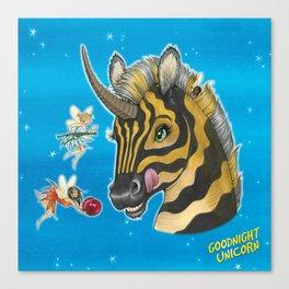 Goodnight Unicorn Zebra Canvas Print
