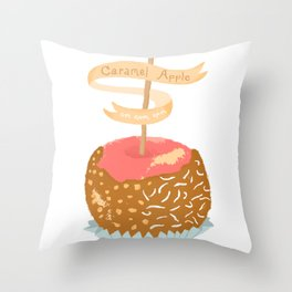 Caramel Apple om nom nom Throw Pillow