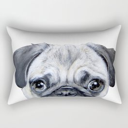 pug Dog illustration original painting print Rectangular Pillow