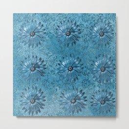 Blue Textured Flowers Pattern Metal Print