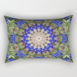 Peacock colors botanical kaleidoscope, mandala - Anagallis, Blue pimpernel flowers Rectangular Pillow