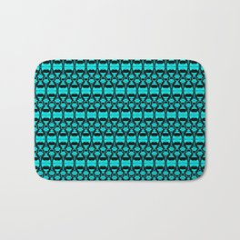 Abstract Pattern Dividers 02 in Turquoise Black Bath Mat