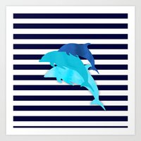 dolphins Art Prints featuring Dolphins by My Studio