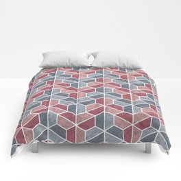 Pattern of three – blue and red Comforters
