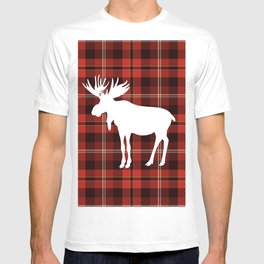 Rustic Western Country Red Buffalo Plaid Winter Mountain Moose T-shirt