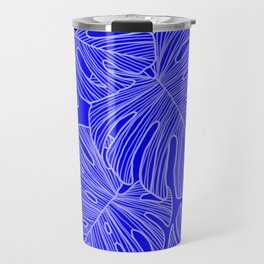 Cobalt Monstera Leaves Travel Mug