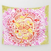 hustle Wall Tapestries featuring Daily Hustle by Pritika Mathur
