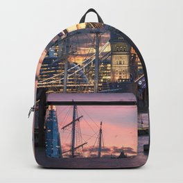Marvelous Historic Tower Bridge Thames River London Metro England At Romantic Evening Red Ultra HD Backpack