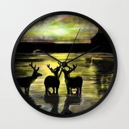 Sundown on Scottish Loch Wall Clock