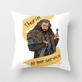 King Dwarf at Your Service Throw Pillow