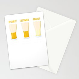 Optimist Pessimist Realist Beer Alcohol Beverage Beerbrewing Liquor Mead Gift Stationery Cards