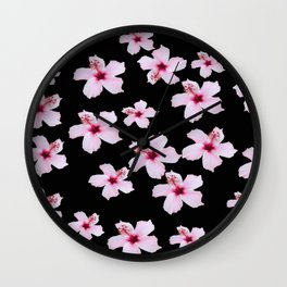 Tropical in black and pink Wall Clock