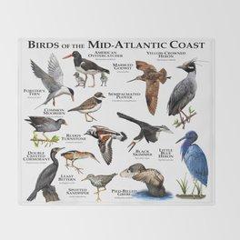 Birds of the Mid-Atlantic Coast Throw Blanket