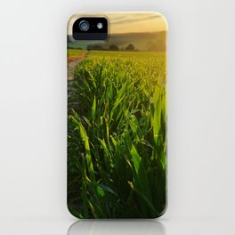 UK Footpath heading off into the distance sunrise and grass iPhone Case