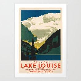 Lovely Lake Louise vintage travel ad Art Print