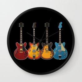 Four Electric Guitars Wall Clock