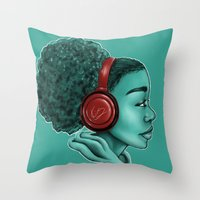 headphones Throw Pillows featuring Headphones by KiraTheArtist