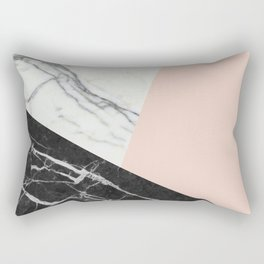 Black and White Marble with Pantone Pale Dogwood Rectangular Pillow