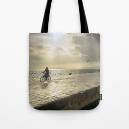 woman bike croatia Tote Bag