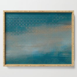 ABUR with Gold on Turquoise Serving Tray