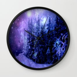 Galaxy Winter Forest Lavender Purple Blue Wall Clock