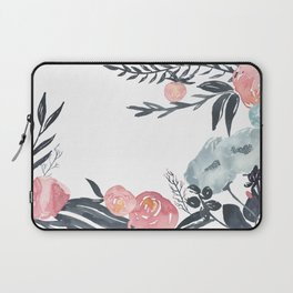 Navy Blush Floral Watercolor Laptop Sleeve