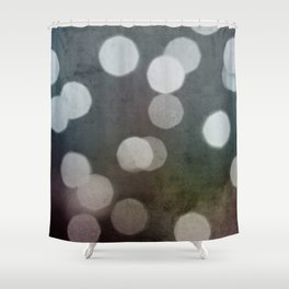 Charcoal Gray and Cream Bokeh Dots Pattern Shower Curtain