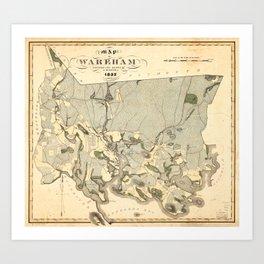 Map of Wareham, Massachusetts (1832) Art Print