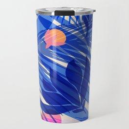 Breezy Tropics / Bright Abstract Floral Print Travel Mug