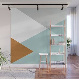 Geometrics - aqua & orange concrete Wall Mural