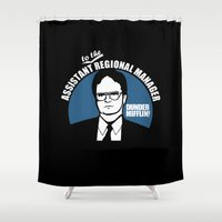 dwight Shower Curtains featuring Dwight Schrute logo by Buby87