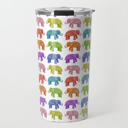 Colorful Parade of Elephants in Red, Orange, Yellow, Green, Blue, Purple and Pink Travel Mug