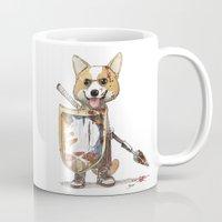 bouletcorp Mugs featuring Corgi Barbare by Bouletcorp
