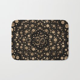 OM Symbol - Dot Art - Black and Gold Bath Mat