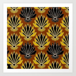 ART DECO YELLOW BLACK COFFEE BROWN AGAVE ABSTRACT Art Print