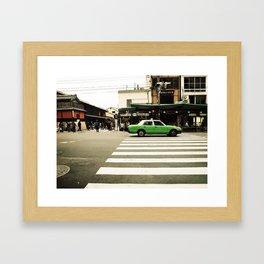 Green Taxi Framed Art Print
