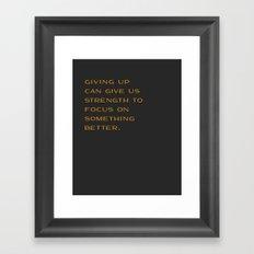 Giving Up Framed Art Print