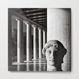 Head of Victory, Stoa of Attalos, Athens Greece, black and white square Metal Print