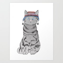 Cat in Hat Art Print