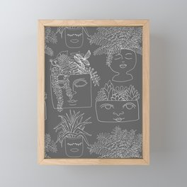 Illustrated Plant Faces in Gray Framed Mini Art Print